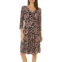 Sami & Jo Womens Scroll Print Ring Neck Panel Dress