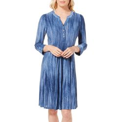 Sami & Jo Womens Button Placket Textured Swing Dress