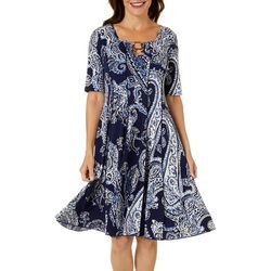 Sami & Jo Womens Paisley Puff Print Ring Neck Panel Dress