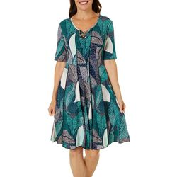 Womens Lattice Neck Palm Puff Print Panel Dress