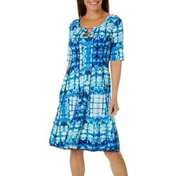 Womens Ring Neck Tie Dye Puff Print Panel Dress