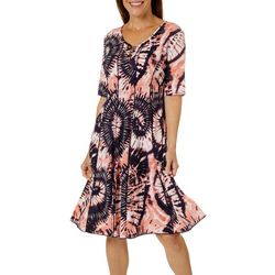 Womens Lattice Neck Tie Dye Panel Dress