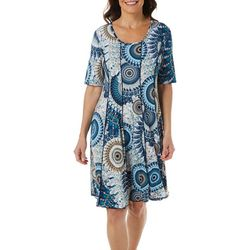 Sami & Jo Womens Elbow Sleeve Swirl Panel Dress