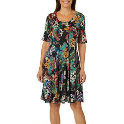 Sami & Jo Womens Paisley Scroll Print Panel Dress