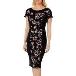 Sami & Jo Womens Floral Print Solid Panel Short Sleeve Dress