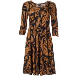 Sami & Jo Womens Round Neck Paisley Print Panel Dress