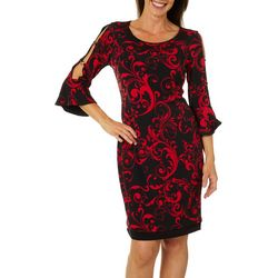 Sami & Jo Womens Reversible Scroll Print Bell Sleeve Dress