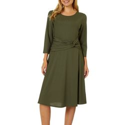 Sami & Jo Womens Solid Ribbed Twist Front Dress