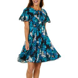 Sami & Jo Womens Floral Tie Neck Flutter Sleeve Panel Dress
