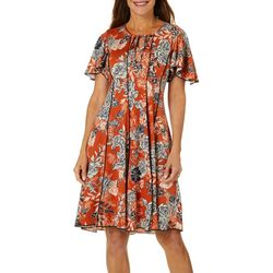 Sami & Jo Womens Spice Tie Neck Flutter Sleeve Panel Dress