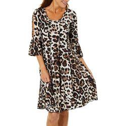 Sami & Jo Womens Leopard Puff Print Bell Sleeve Panel Dress