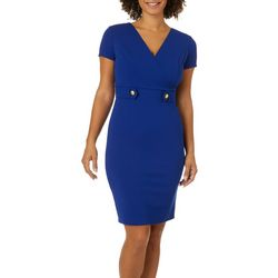 Sami & Jo Womens Solid Button Front V-Neck Sheath Dress