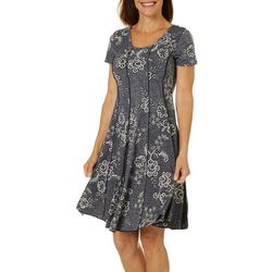 Sami & Jo Womens Denim Floral Puff Print Panel Dress