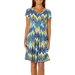 Sami & Jo Womens Geometric Chevron Print Panel Dress