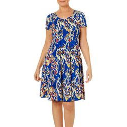 Sami & Jo Womens Vibrant Scroll Print Panel Dress