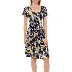 Sami & Jo Womens Swirled Circle Print Panel Dress
