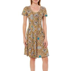 Sami & Jo Womens Tile Print Panel Dress