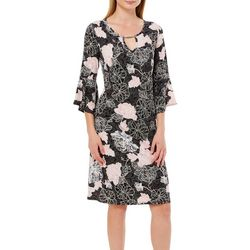 Sami & Jo Womens Dotted Floral Bell Sleeve Keyhole Dress