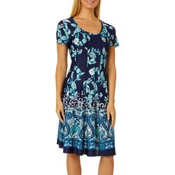 Sami & Jo Womens Floral Border Print Panel Dress