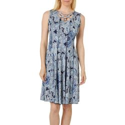 Sami & Jo Womens Paisley Print Crisscross Neck Panel Dress