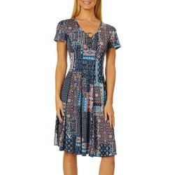 Sami & Jo Womens Mixed Lattice Print Ring Neck Panel Dress