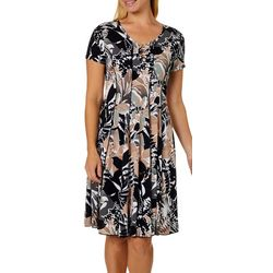 Sami & Jo Womens Lattice Neck Floral Panel Dress