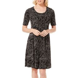 Sami & Jo Womens Puff Leaf Print Panel Dress