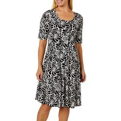 Sami & Jo Womens Floral Puff Print Panel Dress