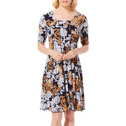 Sami & Jo Womens Floral Swirl Puff Print Panel Dress