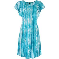 Sami & Jo Womens Beaded Aqua Waves Short Sleeve Dress