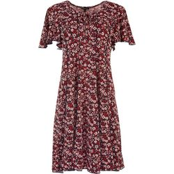 Sami & Jo Womens Flower Print Short Sleeve Dress