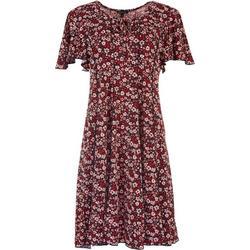 Womens Flower Print Short Sleeve Dress