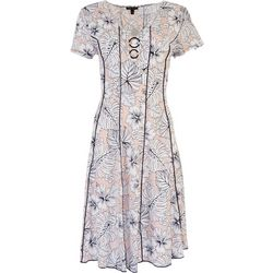 Sami & Jo Womens 3-Ring Detail Floral Midi Dress