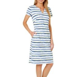 Sami & Jo Womens Split Neck Striped Dress