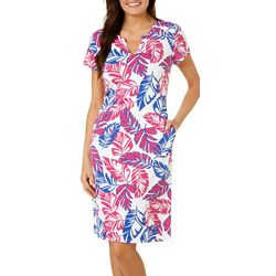 Sami & Jo Womens Palm Leaf Shift Dress