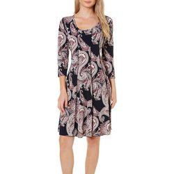Sami & Jo Womens Paisley Print Seamed Dress