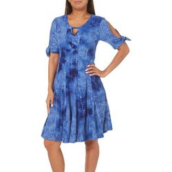 Sami & Jo Womens Keyhole Tie Sleeve Gomez Dress