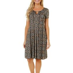 Sami & Jo Womens Geometric Keyhole T-Shirt Dress