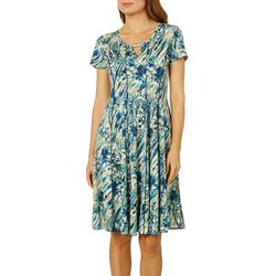 Sami & Jo Womens Swirled Floral Keyhole Panel Dress
