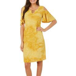Sami & Jo Womens Cold Shoulder Tie Dye Fiesta Dress