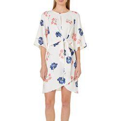 ABS Womens Floral Print Tie Waist Dress