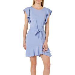 ABS Womens Ruffled Tie Waist Dress