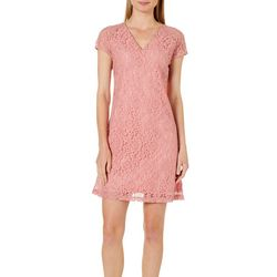 ABS Womens Floral Lace Shift Dress