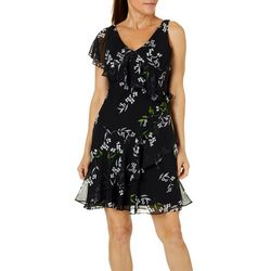 ABS Womens Floral Print One Shoulder Sundress