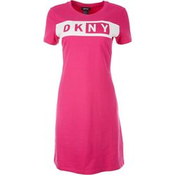 DKNY Womens Fitted T-shirt Dress With Print On The Front