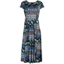 ILE NY Womens Vibrant Abstract Midi Dress