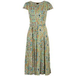 ILE NY Womens Colorful Paisley Print Midi Dress