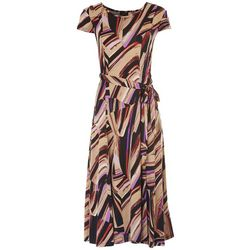 ILE NY Womens Vibrant Print Midi Dress