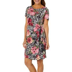 Robbie Bee Womens Leopard Roses Faux Wrap Dress