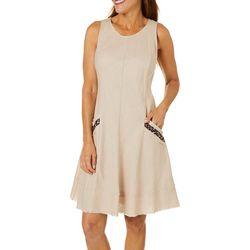 Robbie Bee Womens Linen Leopard Pocket Sleeveless Dress